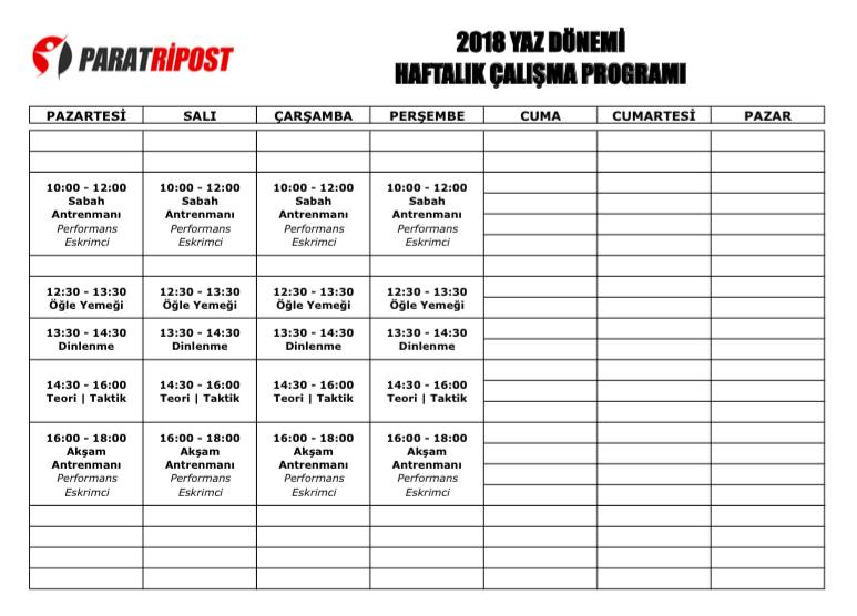 2018-YAZ-DONEMI-HAFTALIK-PROGRAM